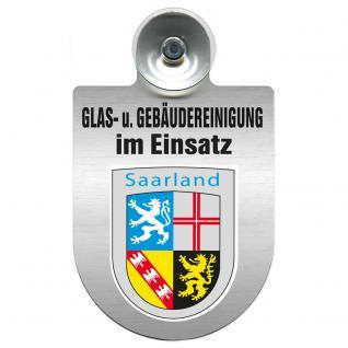Einsatzschild für Windschutzscheibe incl. Saugnapf - Glas- u. Gebäudereinigung im Einsatz - 309399-10 Region Saarland
