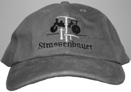 Baseball-Cap Schirmmütze - Beruf Handwerker - STRASSENBAUER - 68627 grau - Baseballcap Cap Baumwollcap Cappy Kappe