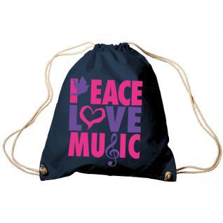 Trend-Bag Turnbeutel Sporttasche Rucksack mit Print - Peace Love Music - TB09017 - Vorschau 4