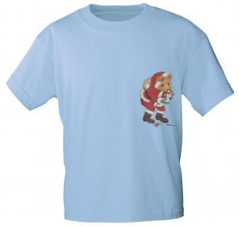 T-Shirt mit Print - Bär - Weihnachten - 12484 - versch. Farben zur Wahl - hellblau / L