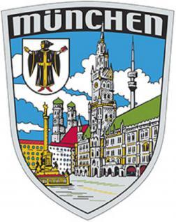 Auto-Aufkleber - MÜNCHEN - Gr. ca. 7, 9 x 10cm (301506) Stick Emblem Aufkleber PVC Wappen Landeszeichen Flagge