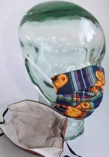 Kinder Textil Design-Maske waschbar aus Baumwolle mit Innenvlies - Bärchen - bis 12 Jahre