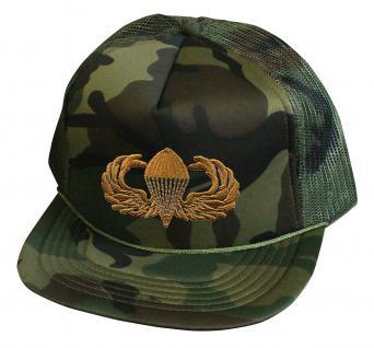 Militarycap Camouflage - Cap mit Stick - Fallschirmjäger Springer Heer - 69205-1 grün - Baumwollcap Baseballcap Hut Cappy Schirmmütze