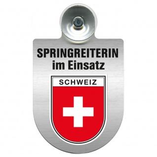 Einsatzschild mit Saugnapf Springreiterin im Einsatz 393836 Region Schweiz