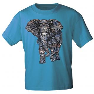T-Shirt unisex mit Aufdruck - Elefant - 12992- versch. Farben zur Wahl - türkis / XL