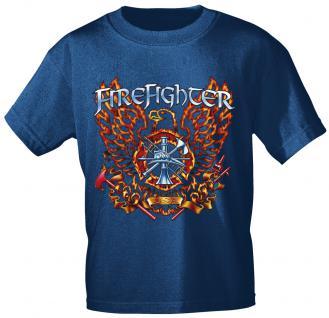 T-Shirt mit Print - Feuerwehr - 10592 - versch. Farben zur Wahl - Gr. Navy / XL
