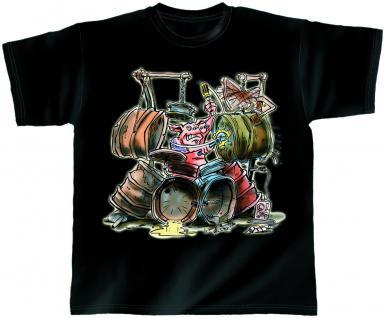 T-Shirt unisex mit Print - Drum Pig - von ROCK YOU MUSIC SHIRTS - 10413 schwarz - Gr. L