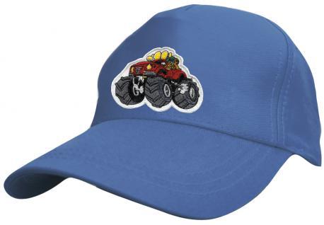 Kinder Schirm-Cap mit MonsterTruck-Stick - Monstertruck - 69127 rot blau weiss gelb schwarz - Baumwollcap Baseballcap Hut Schirmmütze Cappy - Vorschau 2