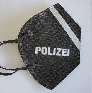 1 FFP2 Maske in SCHWARZ mit fluoreszierenden Streifen und Print - POLIZEI - 15384
