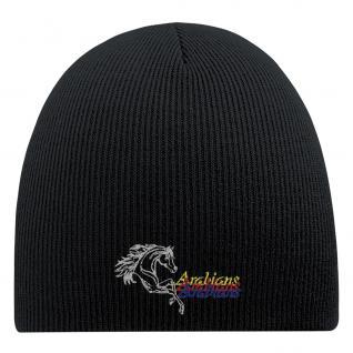 Beanie-Mütze mit Einstickung - ARABIANS PFERD - Wollmütze Wintermütze Strickmütze- 54804 schwarz