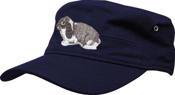 Militarycap - Base-Cap Baseballcap mit Stick - Hase Kaninchen - 60583 blau - Cap Kappe Baumwollcap