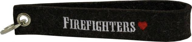 Filz-Schlüsselanhänger mit Stick Firefighters Gr. ca. 17x3cm 14050 schwarz