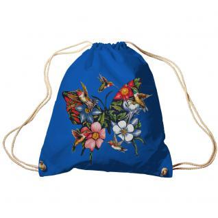 Trend-Bag Turnbeutel Sporttasche Rucksack mit Print - Blumen und Kolibris -TB06993