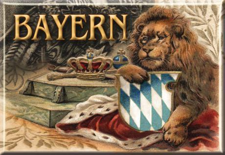 Kühlschrankmagnet - BAYERN LÖWE WAPPEN - Nostalgiemotiv - Gr. ca. 8 x 5, 5 cm - 38742 - Küchenmagnet