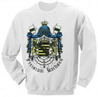 Sweatshirt mit Print - Freistaat Sachsen - 09099 weiß - Gr. S-XXL
