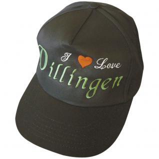 Baumwollcappy - Cap mit gr. stylischer Bestickung - I love Dillingen - 68936 schwarz - Baumwollcap Baseballcap Schirmmütze Hut