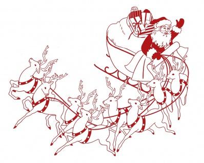 Wandtattoo Dekorfolie Weihnachtsmann mit Schlitten WD0813 - rot / 120cm