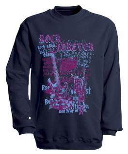 Sweatshirt mit Print - Rock forever - S10254 - versch. farben zur Wahl - Gr. Navy / XXL