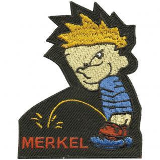 Aufnäher - Pinkelmännchen Merkel - 00384 - Gr. ca. 9 x 9, 5 cm - Patches Stick Applikation