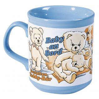 Tasse mit Print Teddybären Baby an Bord 57608 Blau