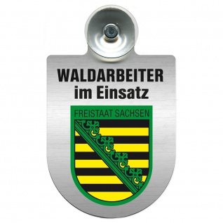 Einsatzschild Windschutzscheibe incl. Saugnapf - Waldarbeiter im Einsatz - 309726 Region Freistaat Sachsen
