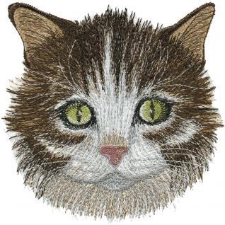 Aufnäher - Katzenkopf - 08571 - Gr. ca. 14, 5 x 15, 5 cm - Patches Stick Applikation