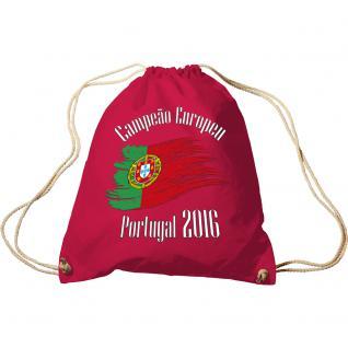 Turnbeutel mit Aufdruck - Europameister Portugal - 65062 - Stofftasche Sportbeutel