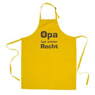 Grillschürze mit Print - Opa hat immer Recht - 12546 versch. Farben gelb
