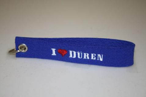 Filz-Schlüsselanhänger mit Stick I love Düren Gr. ca. 17x3cm 14311 blau