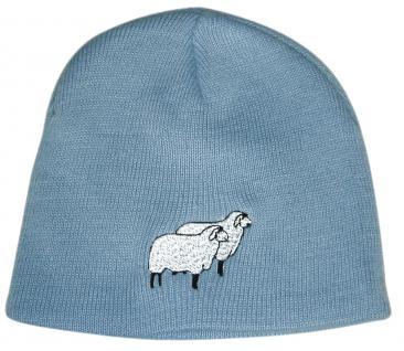 Beanie-Mütze mit Einstickung - SCHAFE - Wollmütze Wintermütze Strickmütze - 54501 blau