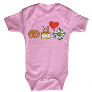 (12732) Baby-Body mit Lederhosn, Brezn, Edelweiß und Herz in 3 Farben und 3 Größen rosa / 12-18 Monate