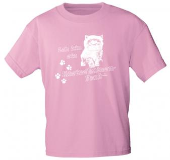 Kinder T-Shirt - Ich bin ein Mietzekatzen-Fan - 08611 rosa - Gr. 98/104