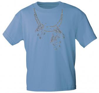 (12852) T- Shirt mit Glitzersteinen Gr. S - XXL in 13 Farben hellblau / L