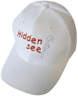 Sportcap mit Front-Druck - HiddenSee - 68858 weiss - Baumwollcap Hut Schirmmütze Baseballcap Cappy Cap