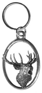 Metall-Schlüsselanhänger - röhrender Zwölfender - Gr. ca. 8, 3x3, 5cm - 13254