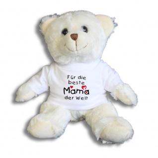 Teddybär mit Shirt - Für die beste Mama der Welt - Größe ca 26cm - 27047 weiß