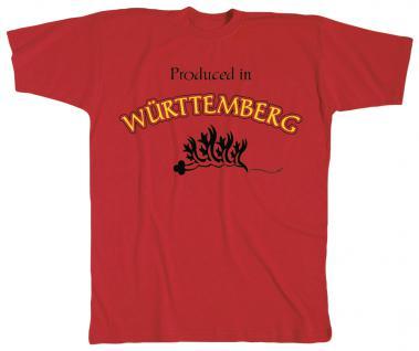 Kinder - T-Shirt mit Druck - Württemberg - 08274 - rot - Gr. 152/164