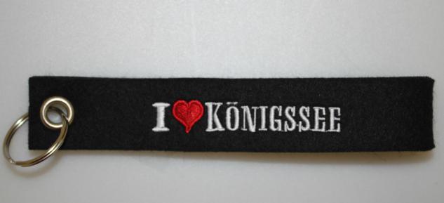 Filz-Schlüsselanhänger mit Stick - I love Königssee - Gr. ca. 17x3cm - 14237