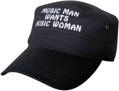 Baseball Military Cap mit Stick - Music Man wants Music Woman - 60508 schwarz - Military Cap Kappe Baumwollcap