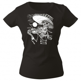 Girly-Shirt mit Print Musiker Skelett Geiger Sombrero Skull - G12998 schwarz Gr. XS