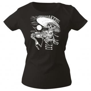 Girly-Shirt mit Print Musiker Skelett Geiger Sombrero Skull - G12998 schwarz Gr. XXL