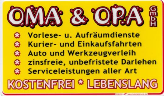 Spaßschild Schild - Oma und Opa GmbH - Gr. ca. 25x15 cm - 309255