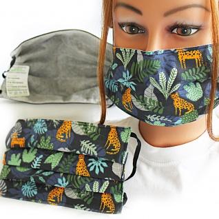 Textil Design-Maske waschbar aus Baumwolle mit Innenvlies - Dschungel + Zugabe - 15554