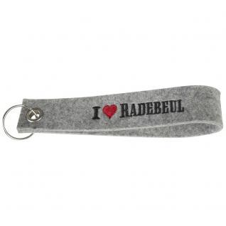 Filz-Schlüsselanhänger mit Einstickung - I love Radebeul - Gr. ca. 17x3cm - 14343 - hellgrau