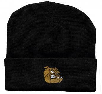 HIP-HOP Mütze Strickmütze mit Einstickung - Bulldoge - 31523 schwarz