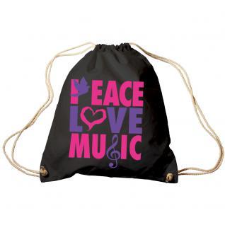 Trend-Bag Turnbeutel Sporttasche Rucksack mit Print - Peace Love Music - TB09017 - Vorschau 1