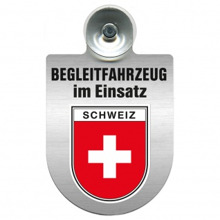 Einsatzschild Windschutzscheibe incl. Saugnapf - Begleitfahrzeug im Einsatz - 309457 - Region Schweiz