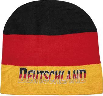 Beanie-Mütze mit Einstickung - Deutschland - schwarz-rot-gelb - 54097
