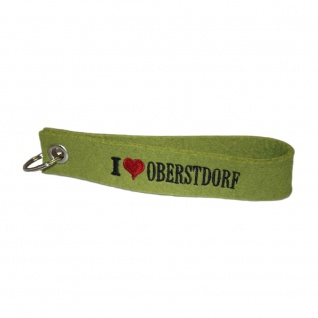 Filz-Schlüsselanhänger mit Stick I love Oberstdorf Gr. ca. 17x3cm 14326 grün