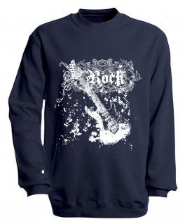 Sweatshirt mit Print - Rock - S10255 - versch. farben zur Wahl - Gr. Navy / L
